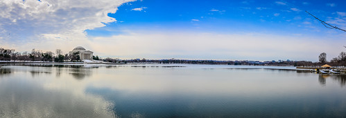blue winter panorama usa reflection ice monument water clouds america reflections river frozen us dc washington pond districtofcolumbia memorial with view unitedstates thomas panoramic basin american potomac jefferson tidal vist mygearandme blinkagain ilobsterit infinitexposure