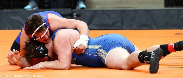 285A - Semifinal - Bradey Berg (Barnesville) 31-4 won by fall over Jett Saewert (New York Mills) 28-9 (Fall 2:32)