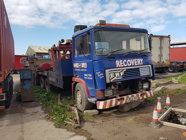 ERF Truck at Ward Bros Middlesbrough. Looking rather sorry for itself. once a wrecker and probably now redundant.