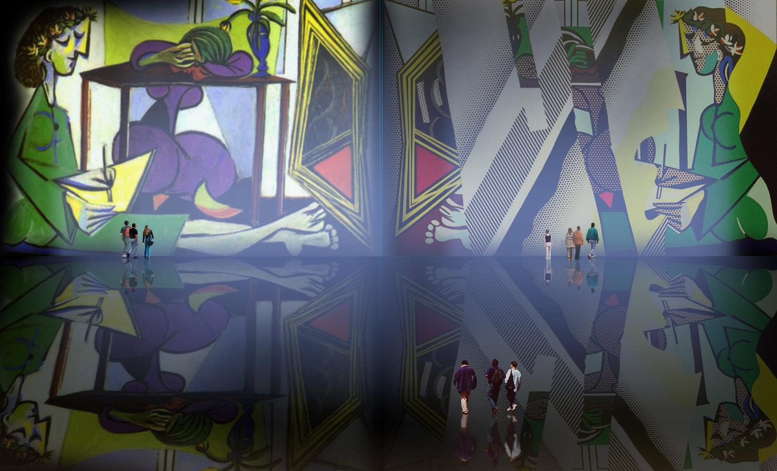 Dibujando el Espejo, relato de Pablo Picasso (1934), transfiguración de Roy Lichtenstein (1990).