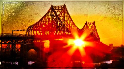 city bridge autumn fall texture metal photoshop sunrise lightsandshadows shadows montreal sunny fujifilm hypothetical jacquescartierbridge 2013 sharingart joessistahstexture brunolaliberté