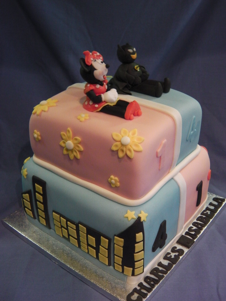 Fine Minnie Mouse Batman Joint 2 Tier Birthday Cake Mandys Funny Birthday Cards Online Alyptdamsfinfo