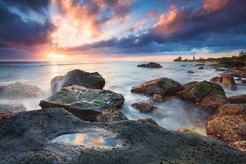 sunset landscape coast rocks sonnenuntergang mauritius flicenflac landschaft küste felsen wolmar