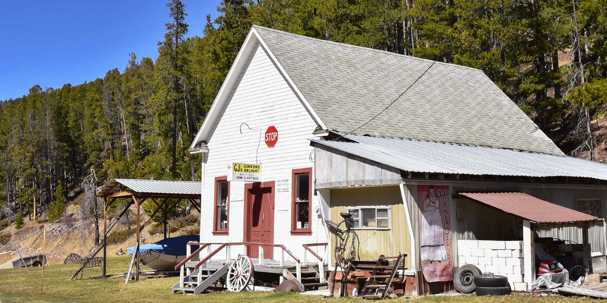 Find unique items and antiques at GJs Junker's Delight in Neihart, Montana in Cascade County.