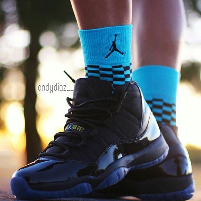 Gamma Blue Air Jordan 11 On Feet Matching Socks From An Flickr