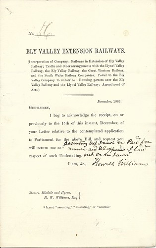 Ely Valley Extension Railways letter 1861 | by ian.dinmore