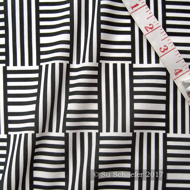 'Geometric stripe play 2 after Hoffman, black + white by Su_G': on basic cotton