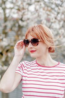 Perfect spring outfit: Red Breton stripe t-shirt \ white full midi skirt \ black d'Orsay patent heels \ tortoiseshell sunglasses \ black box handbag | Not Dressed As Lamb | by Not Dressed As Lamb
