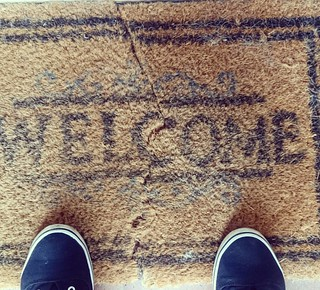 After three years our welcome door mat is now in two. Can we now choose who we let in?  #welcome #knock #wait #3years #home | by Kelly Parker McPherson