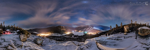 aaronpriest artistsbluff baldmountain cannonmountain chrisgeorgia echolake franconia garrettevans newhampshire mountain night panorama snow spherical statepark winter