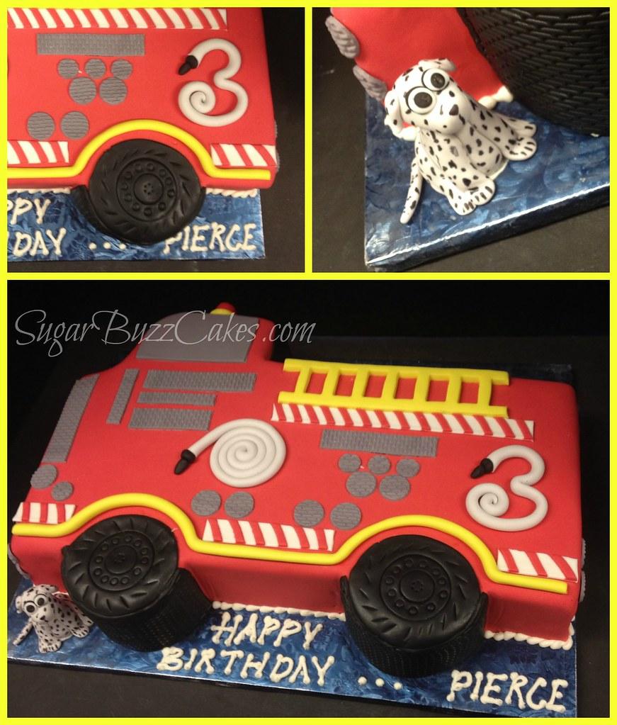 Admirable 2D Firetruck Birthday Cake Carol Flickr Birthday Cards Printable Benkemecafe Filternl