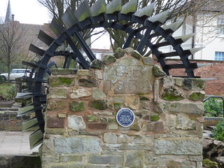 Old water wheel - Old Town Mill - Mill Bank, Stafford - blue plaque