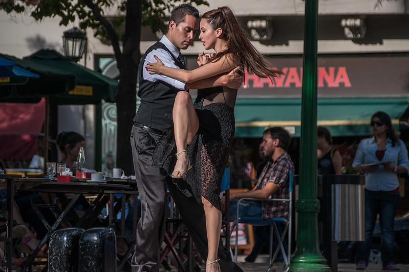Tango dancers in Buenos Aires, Argentina. Neighbourhood of San Telmo.