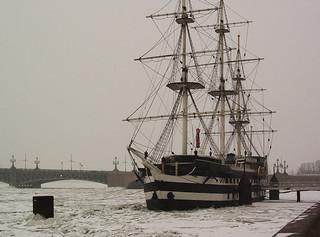 Ship on Neva river, Saint-Petersburg