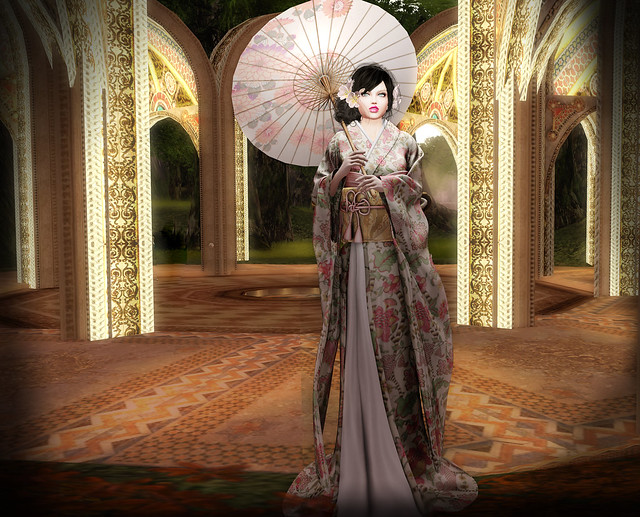 Geisha girl and parasol in a palace of the rising sun