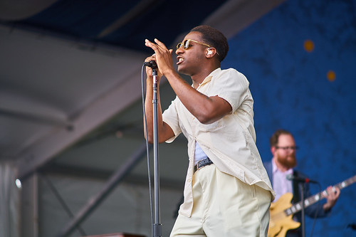 Leon Bridges performs on Gentilly Stage, April 28 2017 Day 1 of Jazz Fest. Photo by Eli Mergel