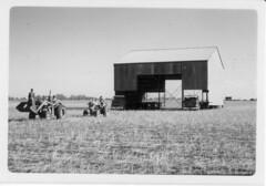 Ira Jenkin shifting a Calomba Railway Grain Shed across country in 1967