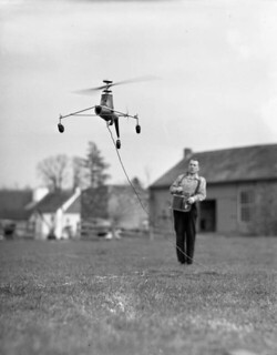 Model helicopter being controlled by its creator Arthur M. Young: Paoli, Pennsylvania