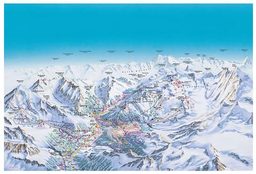 Saas-Fee - mapa zjezdoviek