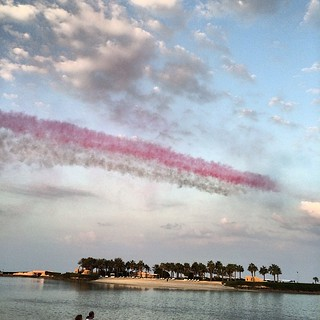 The sky over #Bahrain was painted red and white | by Basil Al-Arrayed