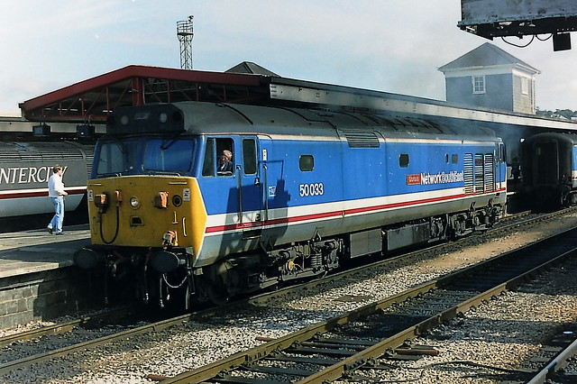 Class 50 50033 in Network Southeast livery at Plymouth