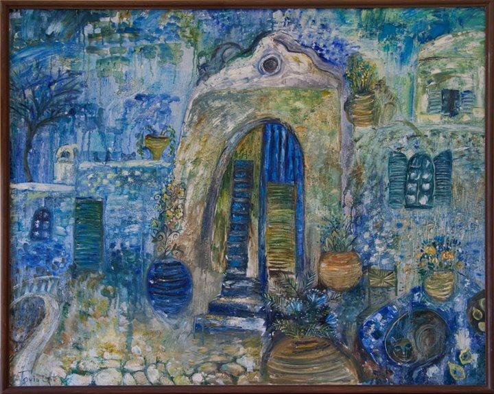 Тихий уголок на Санторини. холст, масло, акрил - Тоня Свалбонене