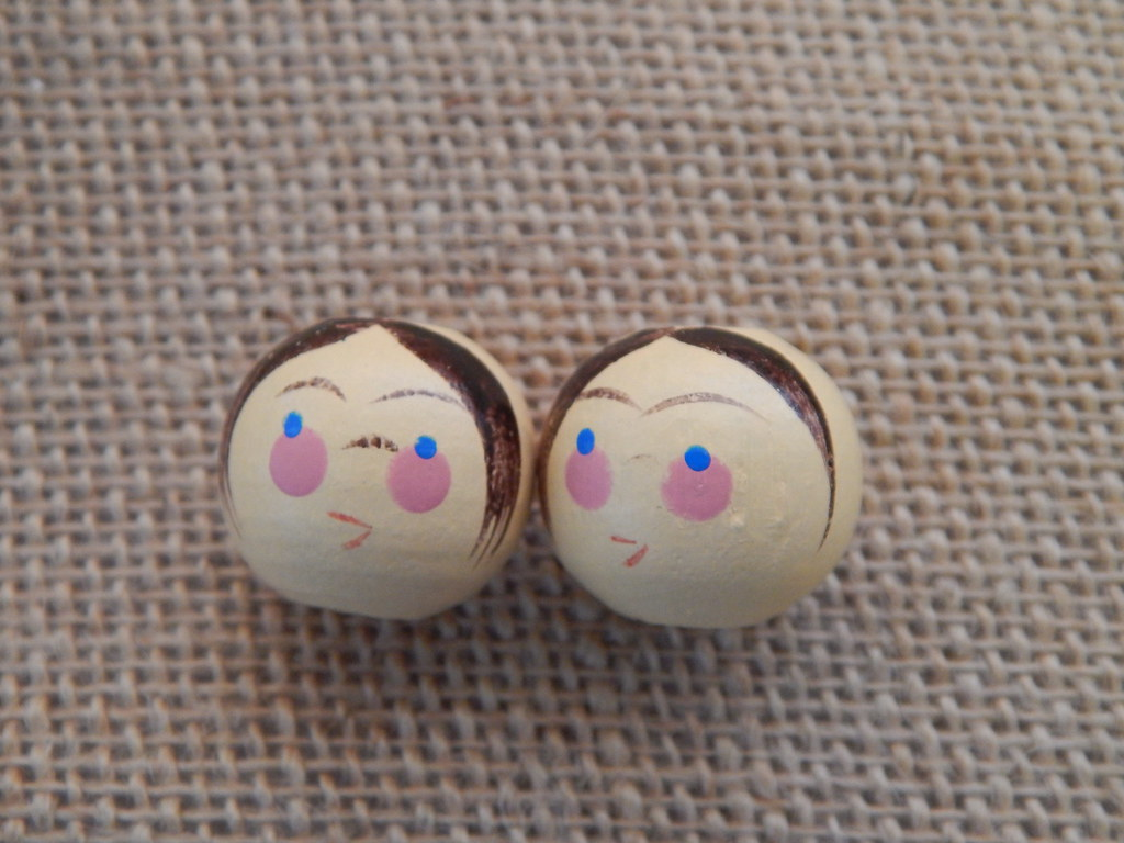Vintage Wooden Doll Heads Set Of 2 Hipster Handpaint Flickr