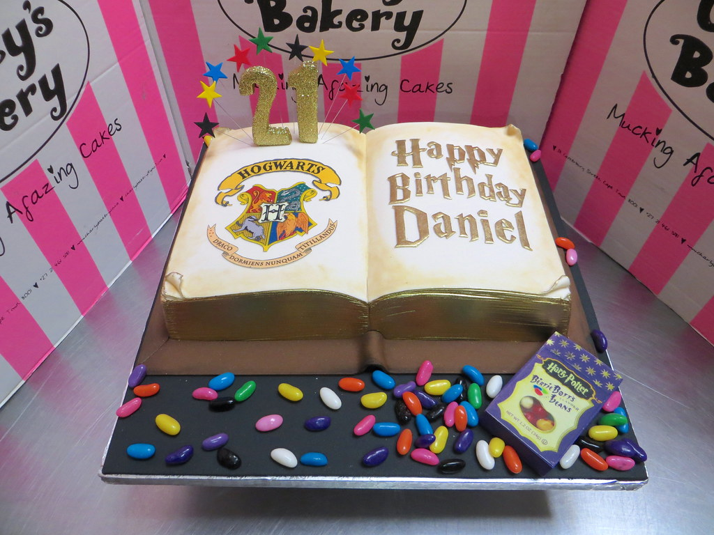 Excellent Harry Potter Open Spell Book Themed 21St Birthday Cake Wit Flickr Funny Birthday Cards Online Alyptdamsfinfo