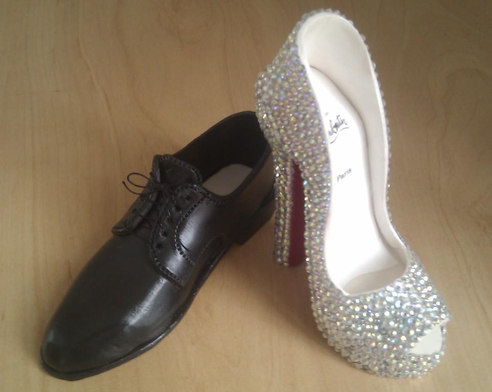 size 40 b8811 6faf5 Crystal 'Louboutin' & black Tuxedo wedding shoes cake topp ...