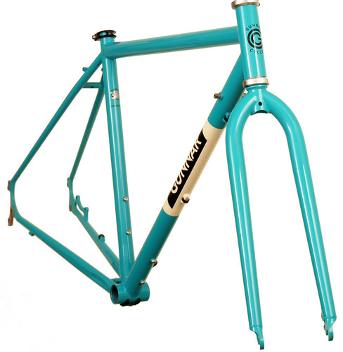 "<p>Front view of Chainstay Shot: Grand Disc in Turquiose with  ""Panda"" Panels.  Shows the matching fork plus rack mounts, triple water bottle bosses and chainstay disc mount.  Painted the 2014 styling of the year Turquoise with our ""Panda"" inverted panels.</p>"