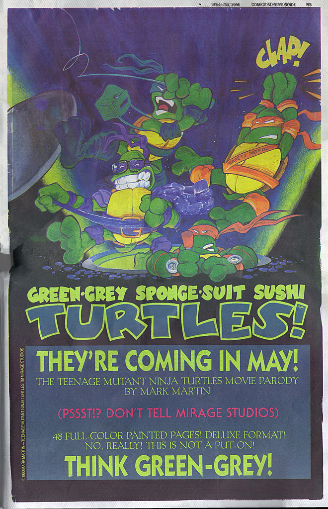 """GREEN-GREY SPONGE-SUIT SUSHI TURTLES :: """"THEY'RE COMING IN MAY!""""  (( 1990 )) by tOkKa"""