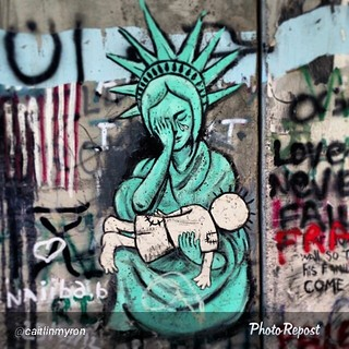 "By @caitlinmyron ""On the separation wall: Lady Liberty weeping over the Handala, the symbol for the forgotten Palestinian refugees. #liberty #ladyliberty #graffiti #art #artwork #westbank #freedom #palestine #separationwall #occupied #israel #bethlehem #w 