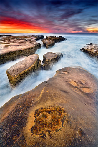 lajolla sandiego california landscape seascape rocks ledges ocean water longexposure sky clouds sunset sunrise light color nikon coast