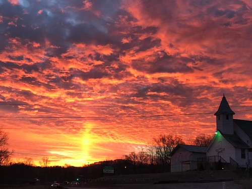 orangesunrise orangesunlight clouds mudriverbaptistchurch sunrise church rt60 cabellcountywv westvirginia wv onawv instagramapp square squareformat iphoneography