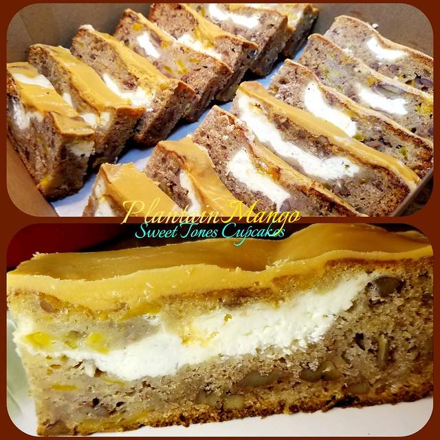 Plantain-Pecan-Mango bread w/ cream cheese and  Butterscotch ganache
