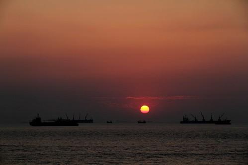 travel sunset sun water silhouette dock ship bangladesh