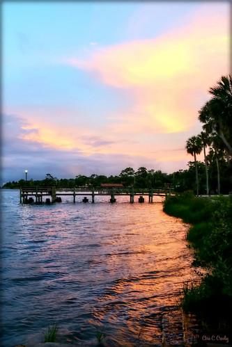 tropicalsunset reflection pastels colorful water halifaxriver amespark ormondbeachflorida sunset silhouettes sky clouds landscape scenic