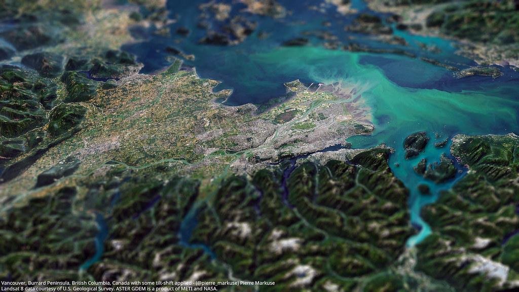 Vancouver_3d_tiltshift_L8_ASTER_GDEM