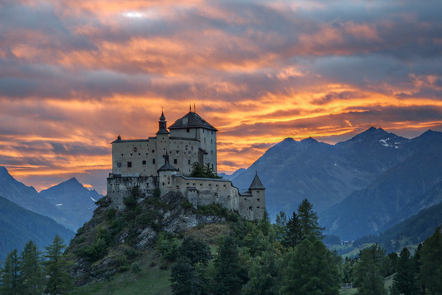 Tarasp Castle in the Sunset