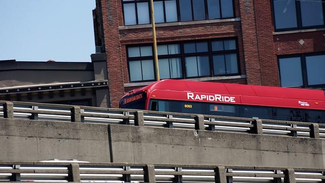 A KCM Rapid Ride C climbs the Alaskan Way Viaduct