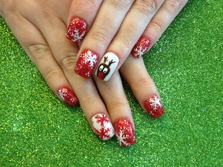 Acrylic overlay with red glitter and Xmas nail art | by Eye Candy Nails Nic Senior