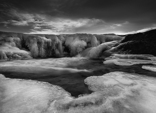 bw ice monochrome sunrise landscape mono waterfall iceland hvalfjörður laxá