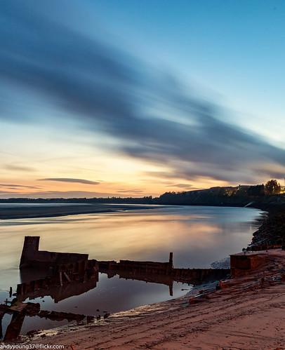 england reflections runcorn sunkenboat uk cheshire rivermersey sunset