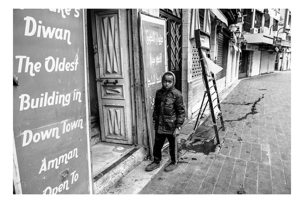 A child is seen in the Amman downtown