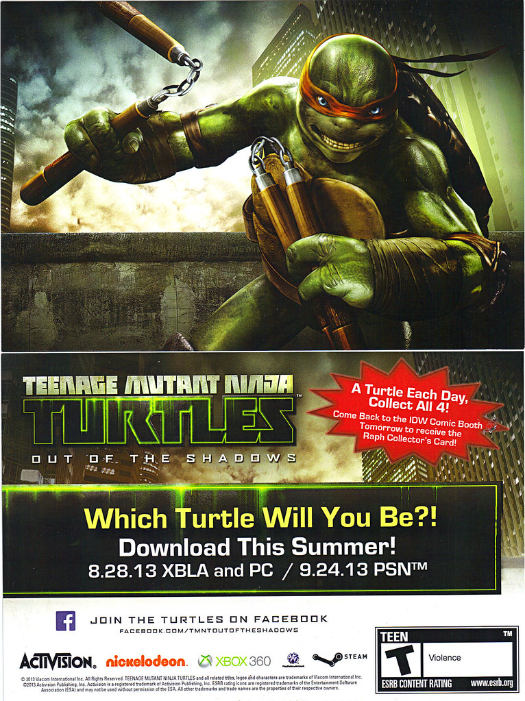 """TEENAGE MUTANT NINJA TURTLES : OUT OF THE SHADOWS"" //   SDCC ""Michelangelo"" Collector's card  (( 2013 )) by tOkKa"