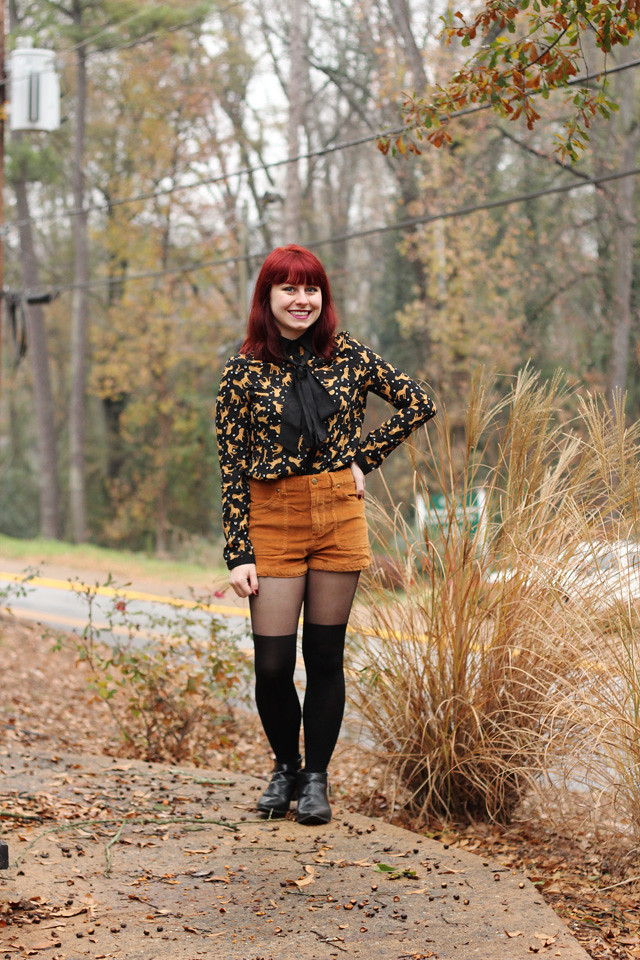 Leopard Blouse Corduroy Shorts Faux Knee High Tights Flickr