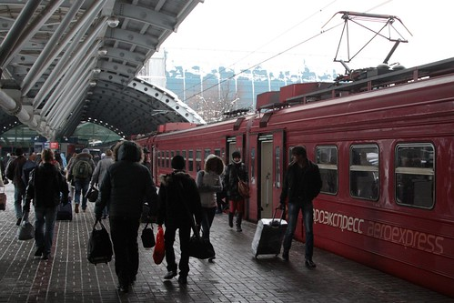 Passengers arrive at Domodedovo International Airport by train