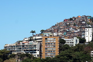 Leblon beach and Vidal hilltop favela, Rio de Janeiro