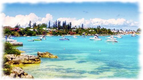 landscape harbour water serene sea bay coast boats