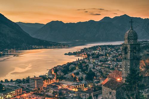 kotor sunset adriaticcoast montenegro sea coast
